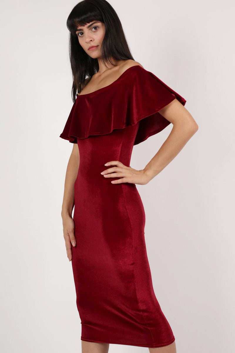 Velvet Off Shoulder Bodycon Midi Dress in Wine Red MODEL SIDE 2
