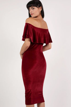 Velvet Off Shoulder Bodycon Midi Dress in Wine Red MODEL BACK