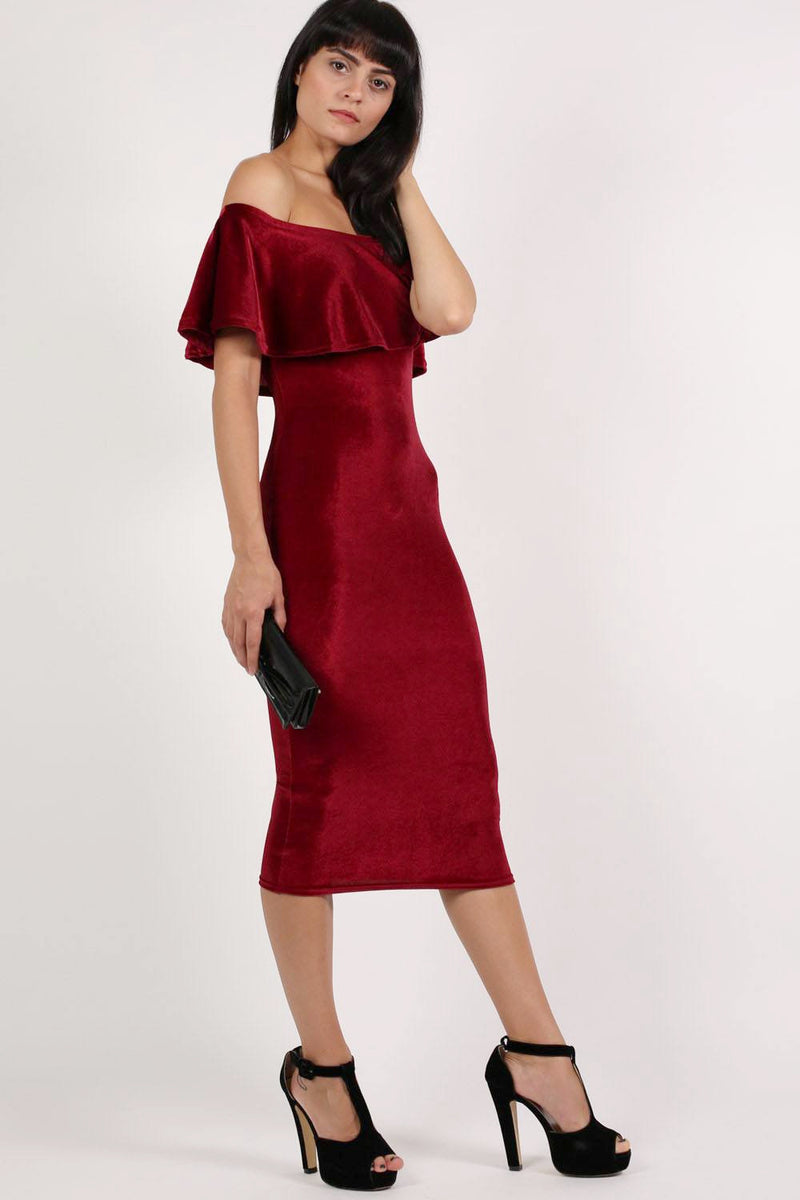 Velvet Off Shoulder Bodycon Midi Dress in Wine Red MODEL SIDE 3