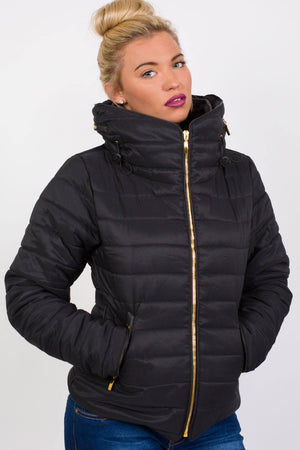 Quilted Long Sleeve Puffa Jacket in Black MODEL FRONT 2