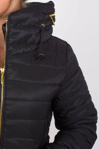 Quilted Long Sleeve Puffa Jacket in Black MODEL CLOSE UP