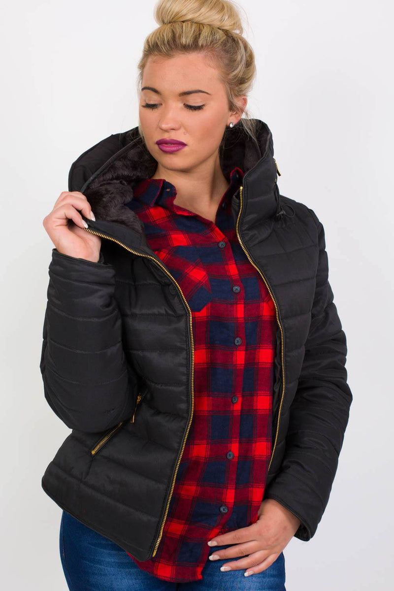 Quilted Long Sleeve Puffa Jacket in Black MODEL FRONT 3