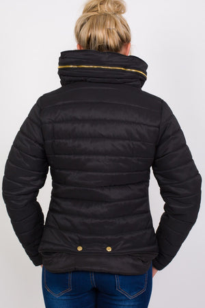 Quilted Long Sleeve Puffa Jacket in Black MODEL BACK