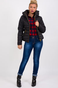 Quilted Long Sleeve Puffa Jacket in Black MODEL FRONT 4