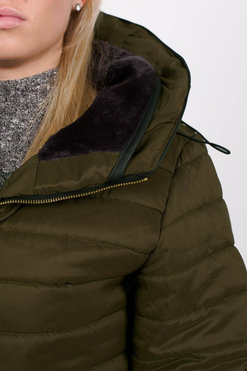 Quilted Long Sleeve Puffa Jacket in Khaki Green MODEL CLOSE UP