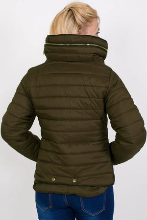 Quilted Long Sleeve Puffa Jacket in Khaki Green MODEL BACK
