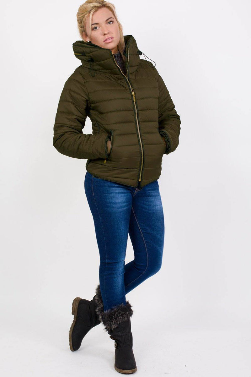 Quilted Long Sleeve Puffa Jacket in Khaki Green MODEL FRONT 4