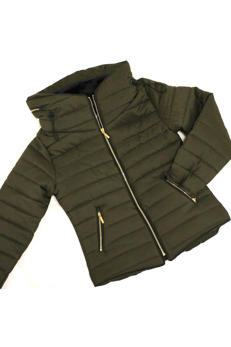 Quilted Long Sleeve Puffa Jacket in Khaki Green Flat shot