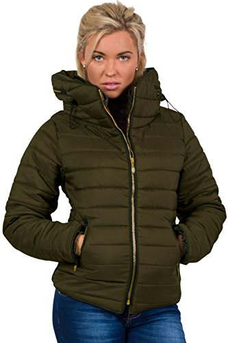 Quilted Long Sleeve Puffa Jacket in Khaki Green