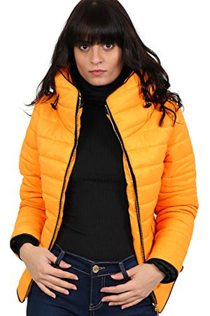 Quilted Long Sleeve Puffa Jacket in Yellow