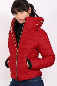 Quilted Long Sleeve Puffa Jacket in Red MODEL FRONT
