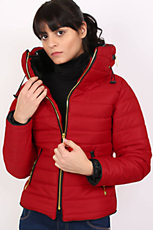 Quilted Long Sleeve Puffa Jacket in Red MODEL FRONT 2