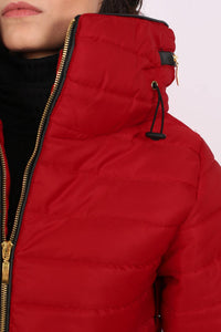 Quilted Long Sleeve Puffa Jacket in Red MODEL CLOSE UP
