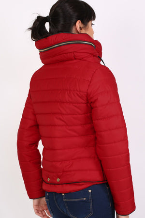 Quilted Long Sleeve Puffa Jacket in Red MODEL BACK