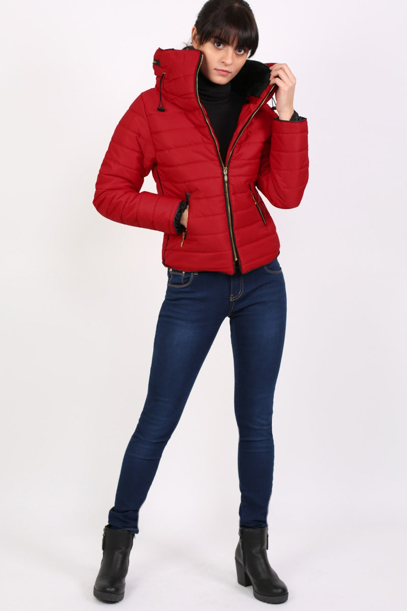 Quilted Long Sleeve Puffa Jacket in Red MODEL FRONT 3