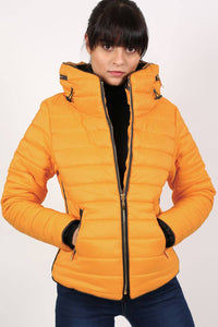 Quilted Long Sleeve Puffa Jacket in Yellow MODEL FRONT 2