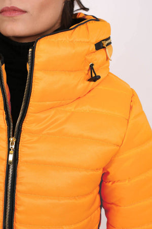 Quilted Long Sleeve Puffa Jacket in Yellow MODEL CLOSE UP
