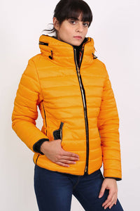 Quilted Long Sleeve Puffa Jacket in Yellow MODEL FRONT 3