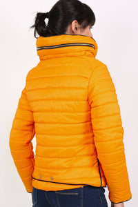Quilted Long Sleeve Puffa Jacket in Yellow MODEL BACK
