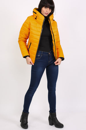 Quilted Long Sleeve Puffa Jacket in Yellow MODEL FRONT 4