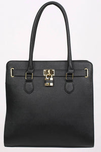 Large Winged Two Handle Tote Bag in Black 5