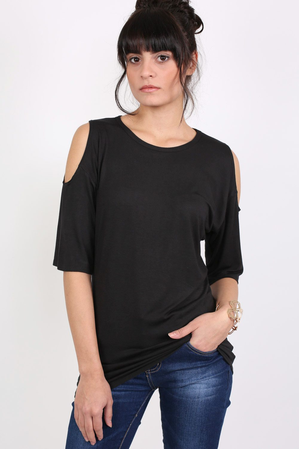 Cold Shoulder Tunic Top in Black MODEL FRONT