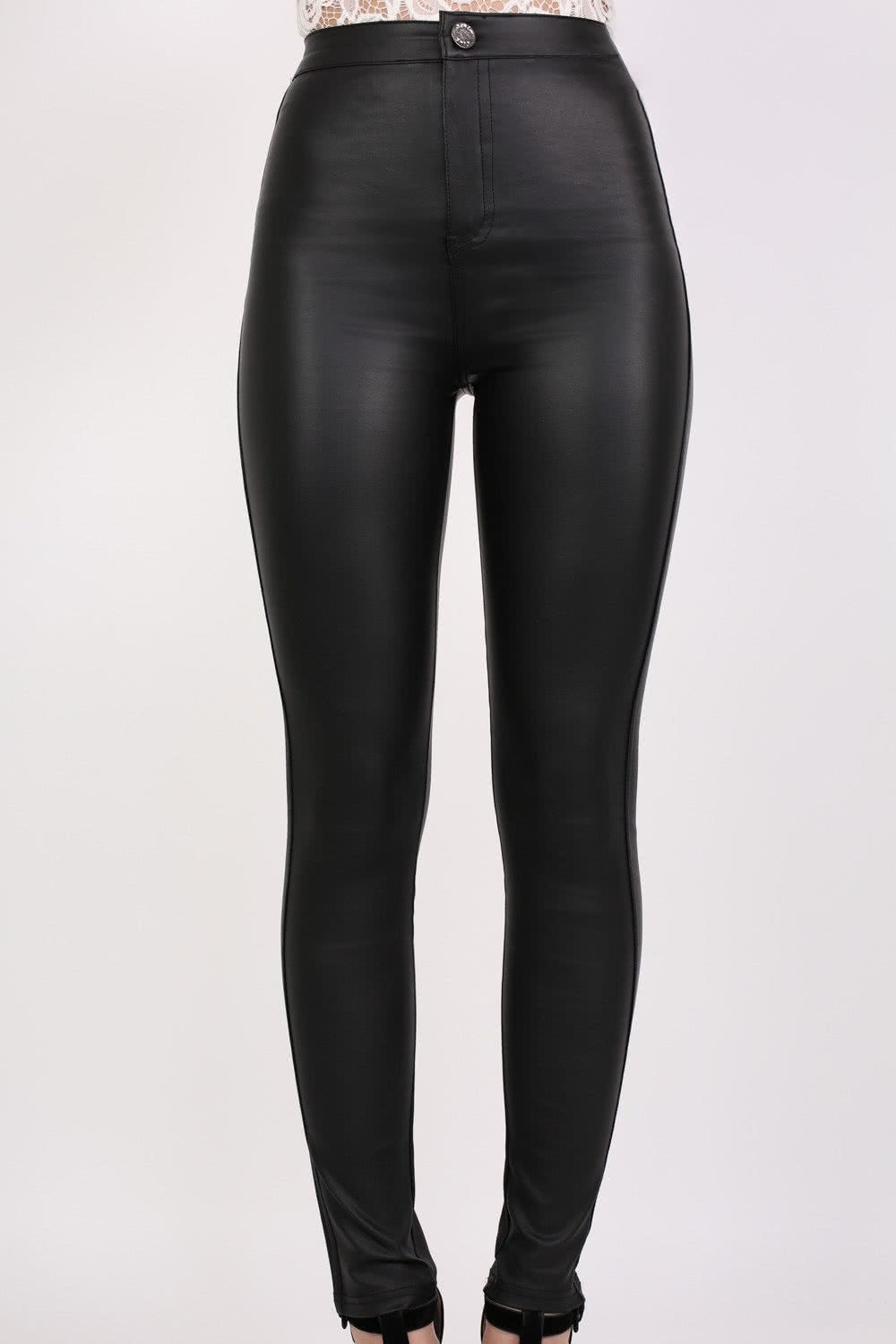 Faux Leather High Waisted Skinny Fit Trousers in Black MODEL FRONT 2