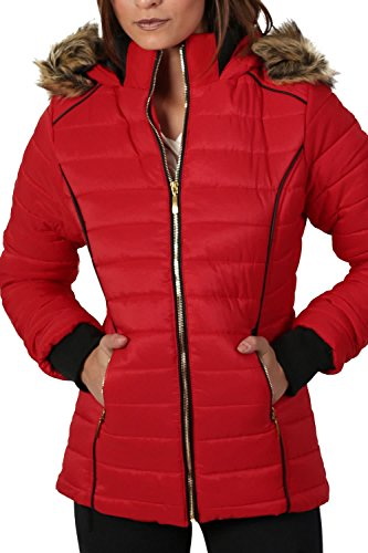 Faux Fur Trim Hooded Puffa Jacket in Red