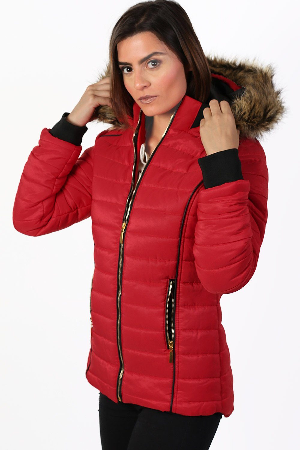 Faux Fur Trim Hooded Puffa Jacket in Red 1