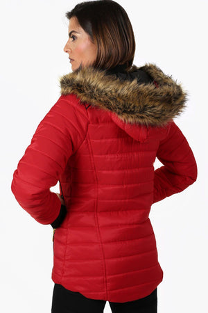 Faux Fur Trim Hooded Puffa Jacket in Red 2