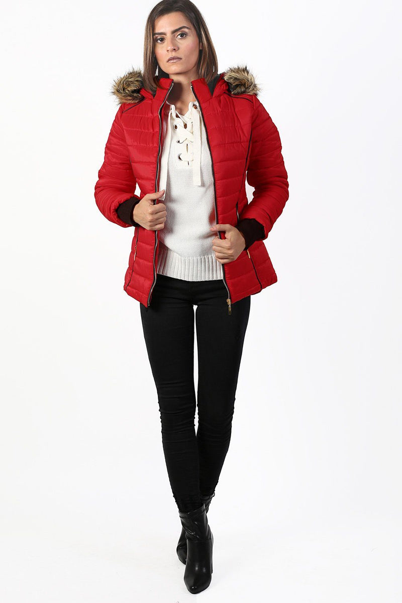 Faux Fur Trim Hooded Puffa Jacket in Red 3
