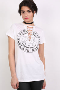 Lace Up Front Graphic T-Shirt in White MODEL FRONT 2