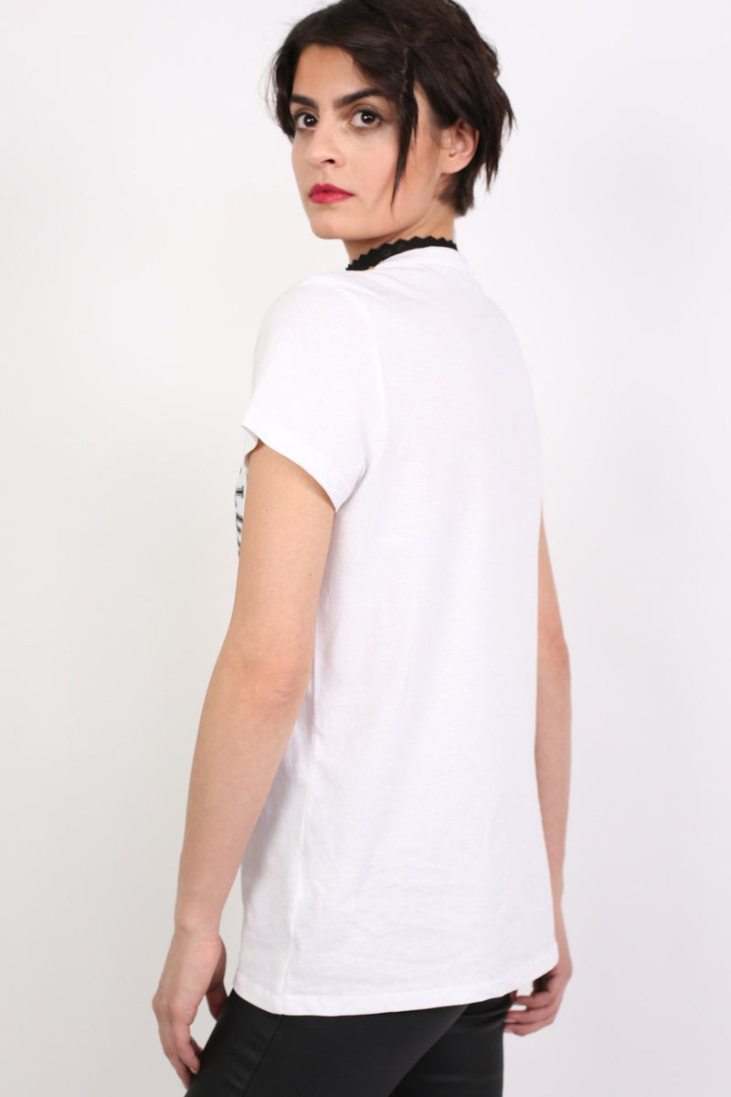 Lace Up Front Graphic T-Shirt in White MODEL BACK