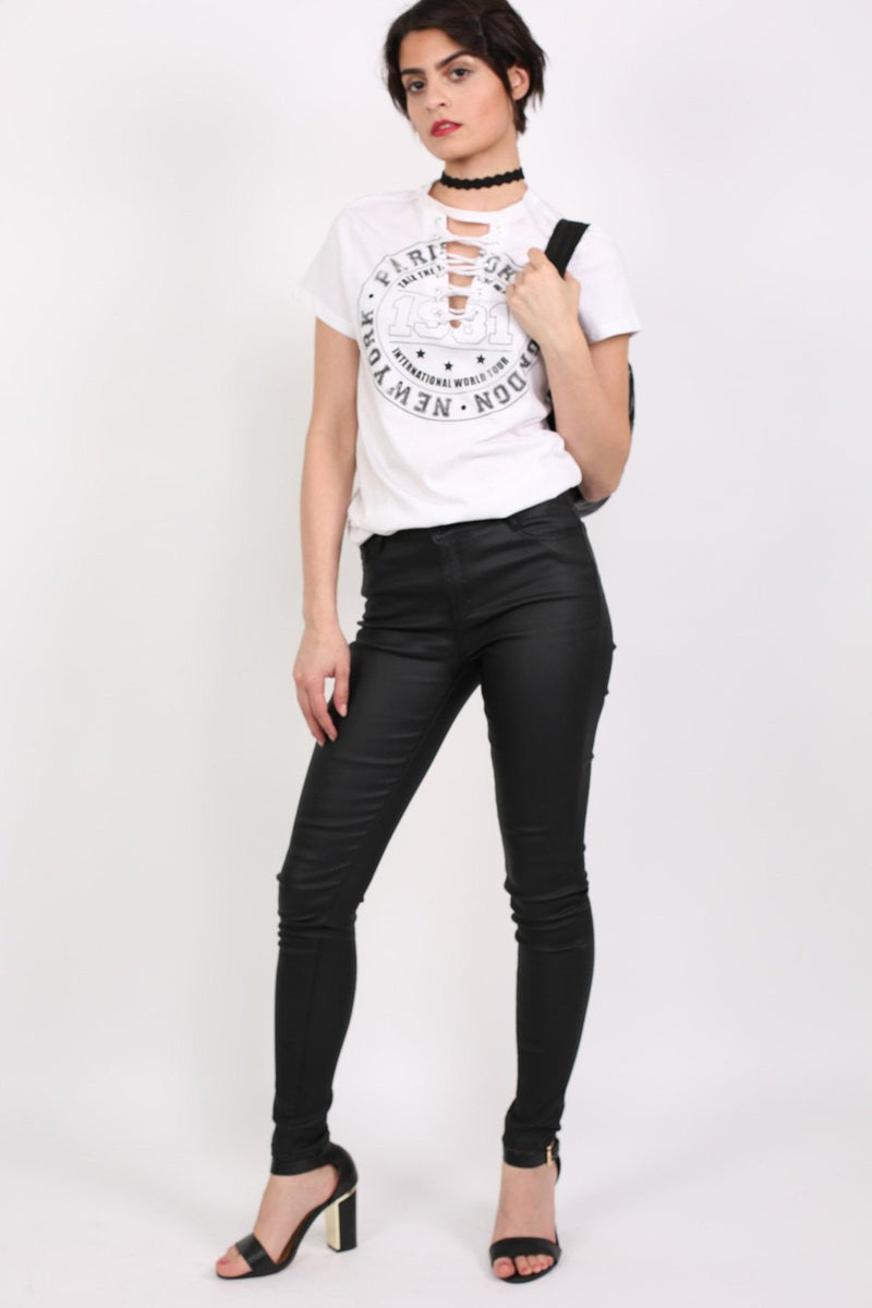 Lace Up Front Graphic T-Shirt in White MODEL FRONT 3