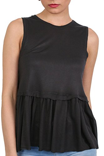 Swing Peplum Hem Vest Top in Black