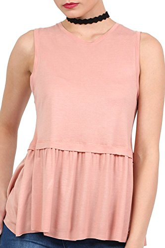 Swing Peplum Hem Vest Top in Dusty Pink