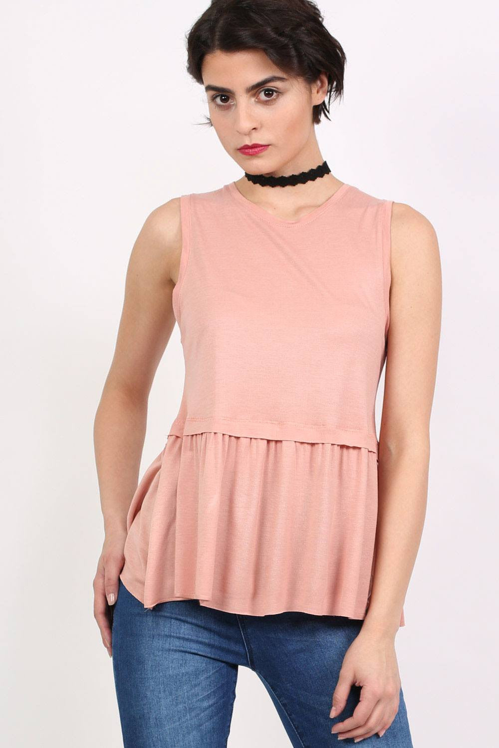 Swing Peplum Hem Vest Top in Dusty Pink 1