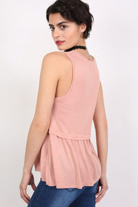 Swing Peplum Hem Vest Top in Dusty Pink 2