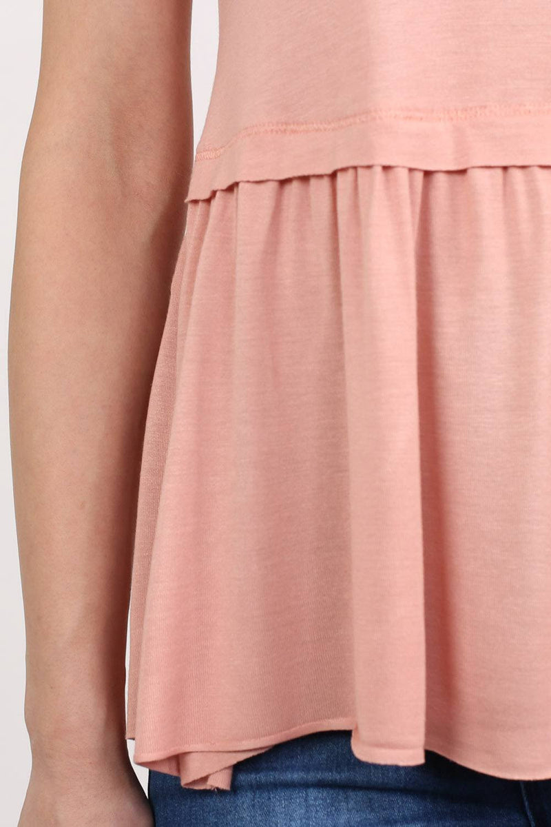 Swing Peplum Hem Vest Top in Dusty Pink 3
