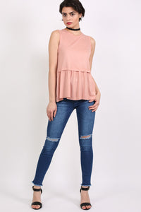 Swing Peplum Hem Vest Top in Dusty Pink 4