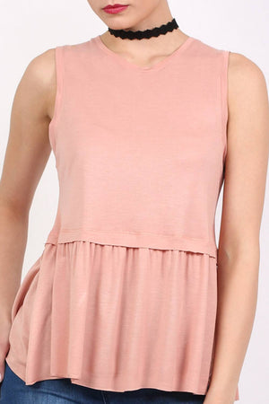 Swing Peplum Hem Vest Top in Dusty Pink 5