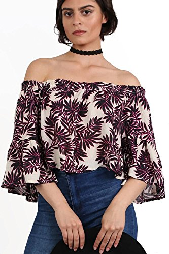Frill Sleeve Floral Print Bardot Crop Top in Black & Red