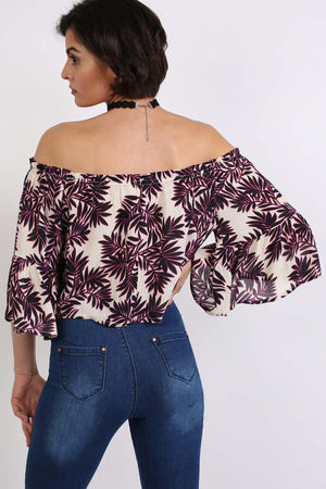 Frill Sleeve Floral Print Bardot Crop Top in Black & Red 3