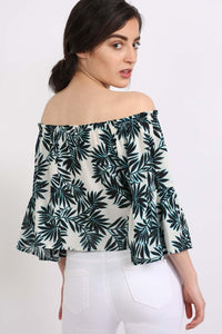 Frill Sleeve Floral Print Bardot Crop Top in Aqua Blue 2