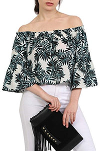Frill Sleeve Floral Print Bardot Crop Top in Aqua Blue