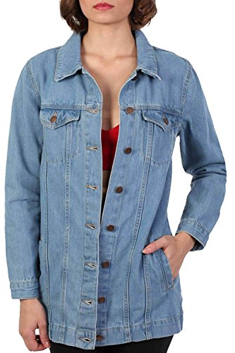 Long Denim Boyfriend Style Jacket in Light Denim
