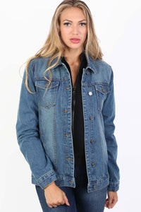 Boyfriend Style Denim Jacket in Indigo Blue 1