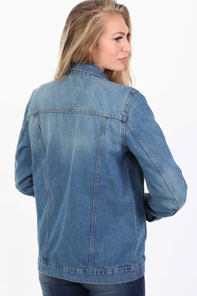 Boyfriend Style Denim Jacket in Indigo Blue 2