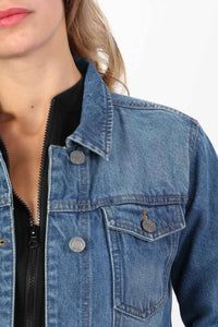 Boyfriend Style Denim Jacket in Indigo Blue 3