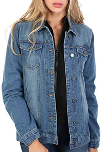 Boyfriend Style Denim Jacket in Denim Blue